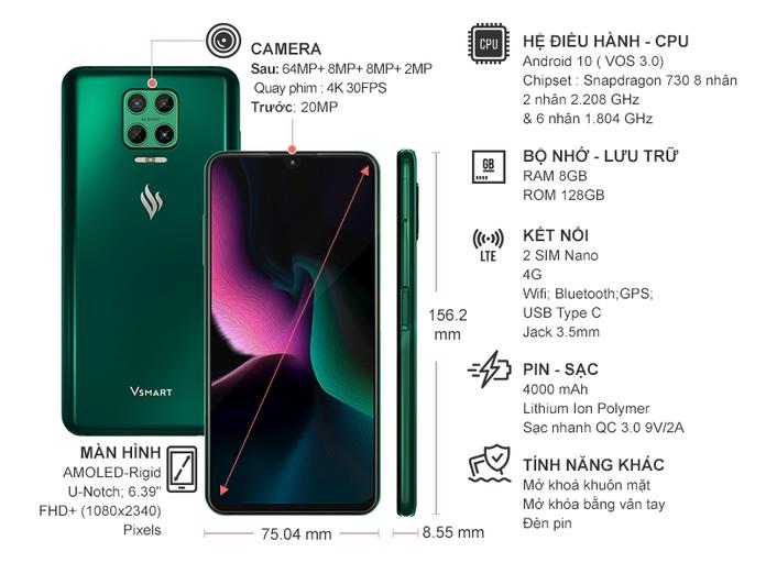 Điện thoại Vsmart Aris 8GB/128GB Lục Cực Quang