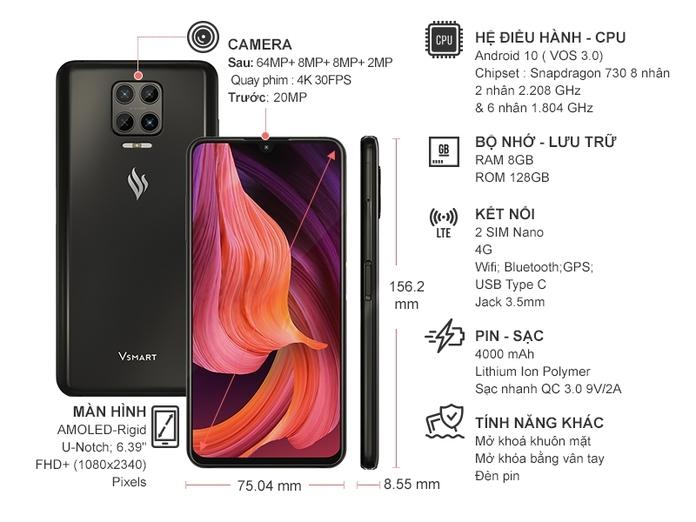 Điện thoại Vsmart Aris 8GB/128GB Xám Nhật Thực