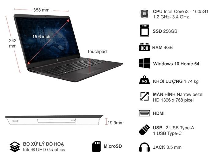 Laptop HP 250 G8 i3-1005G1 15.6 inch 389X8PA