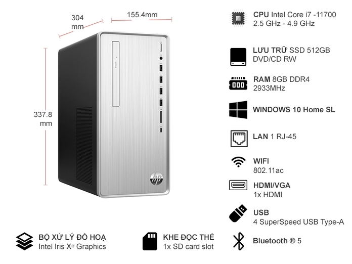 PC HP Pavilion TP01-2001D I7-11700 8GB/512GB 46K00PA