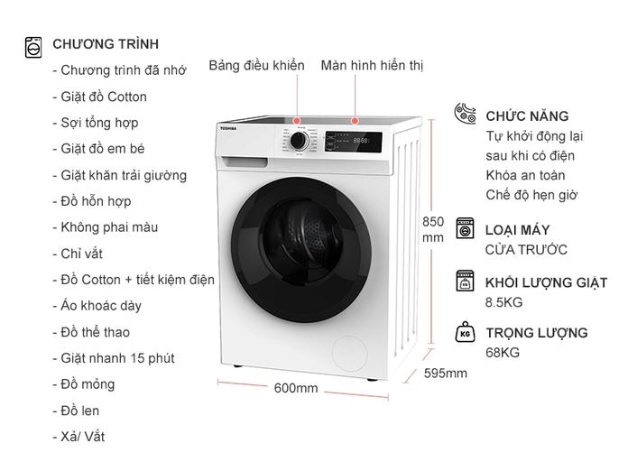 Máy giặt Toshiba Inverter 8.5 kg TW-BK95S2V(WK)