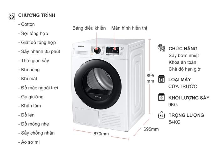 Máy Sấy Bơm Nhiệt Samsung 9 Kg DV90TA240AE/SV Giá Tốt | Nguyễn Kim