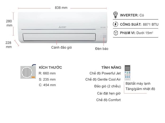 Máy lạnh Mitsubishi Electric Inverter 1 HP MSY-JP25VF