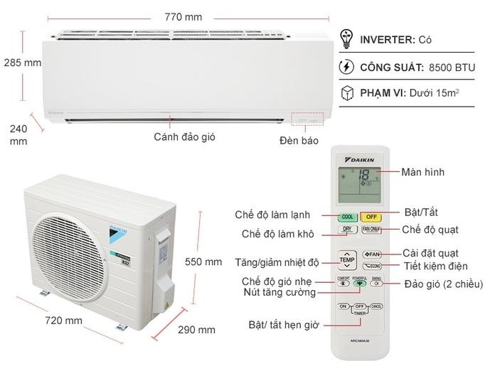 Máy lạnh Daikin Inverter 1 HP ATKC25UAVMV