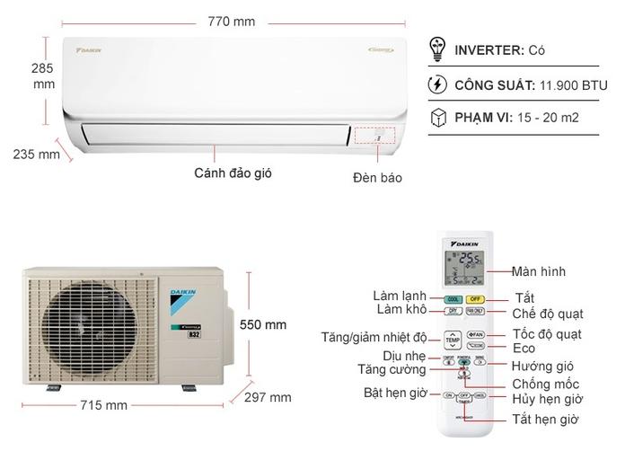 Máy lạnh Daikin Inverter 1.5 HP ATKA35UAVMV