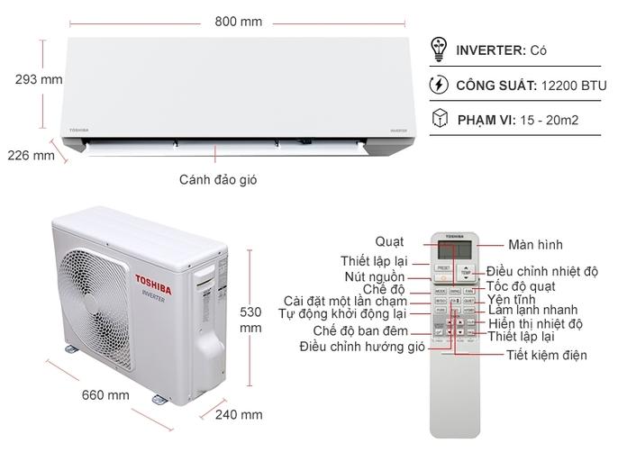 Máy lạnh Toshiba Inverter 1.5 HP RAS-H13E2KCVG-V