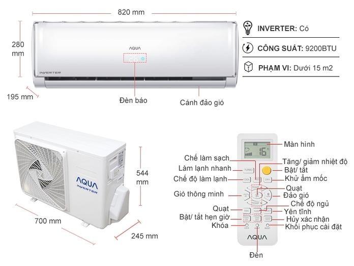 Máy lạnh Aqua Inverter 1 HP AQA-KCRV10TH