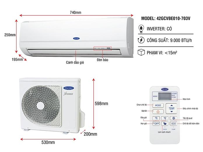 Máy lạnh Carrier Inverter 1 HP 38GCVBE010-703V/42GCVBE010-703V