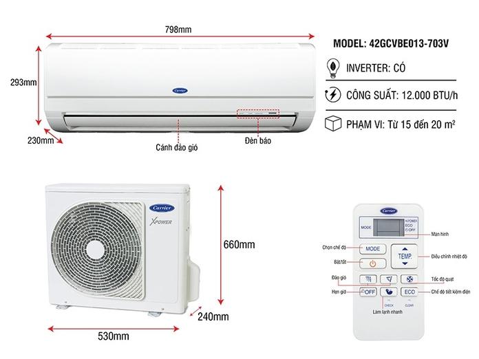 Máy lạnh Carrier Inverter 1.5 HP 38GCVBE013-703V/42GCVBE013-703V