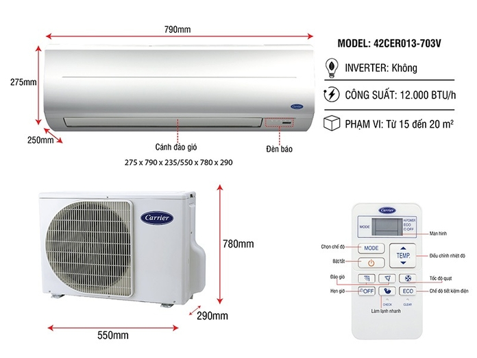 Máy lạnh Carrier 1.5 HP 38CER013-703V/42CER013-703V