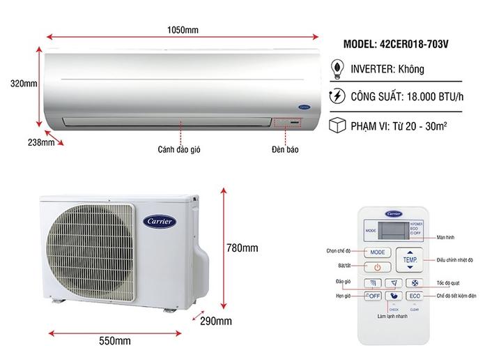 Máy lạnh Carrier 2 HP 38CER018-703V/42CER018-703V