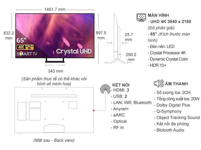 Smart Tivi Samsung Crystal UHD 4K 65 Inch UA65AU9000KXXV | Nguyễn Kim