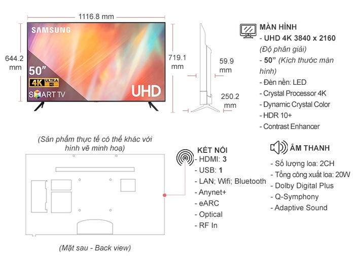 Smart Tivi Samsung Crystal UHD 4K 50 Inch UA50AU7000KXXV | Nguyễn Kim