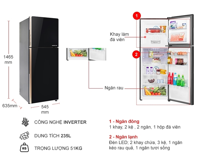 Tủ lạnh Aqua Inverter 235 lít AQR-IG248EN (GB)