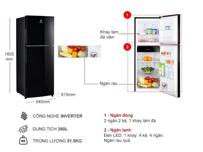 Tủ lạnh Electrolux Inverter 260 lít ETB2802J-H