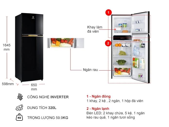 Tủ lạnh Electrolux Inverter 320 lít ETB3400J-H