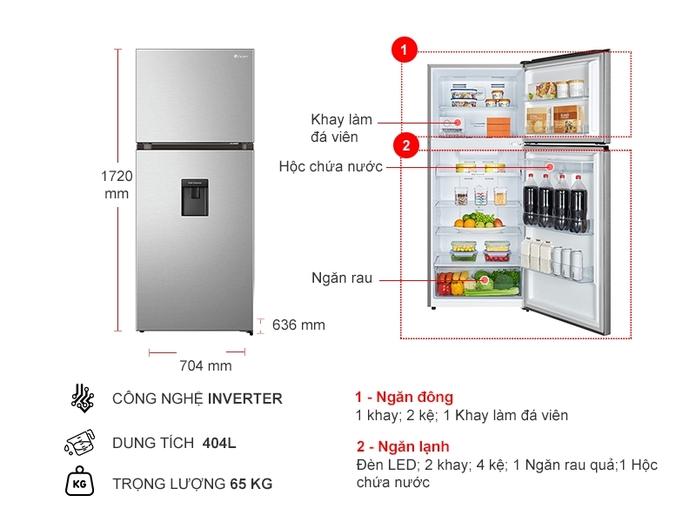 Tủ lạnh Casper Inverter 404 lít RT-421VGW