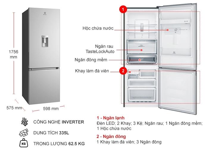 Tủ lạnh Electrolux Inverter 335 lít EBB3742K-A
