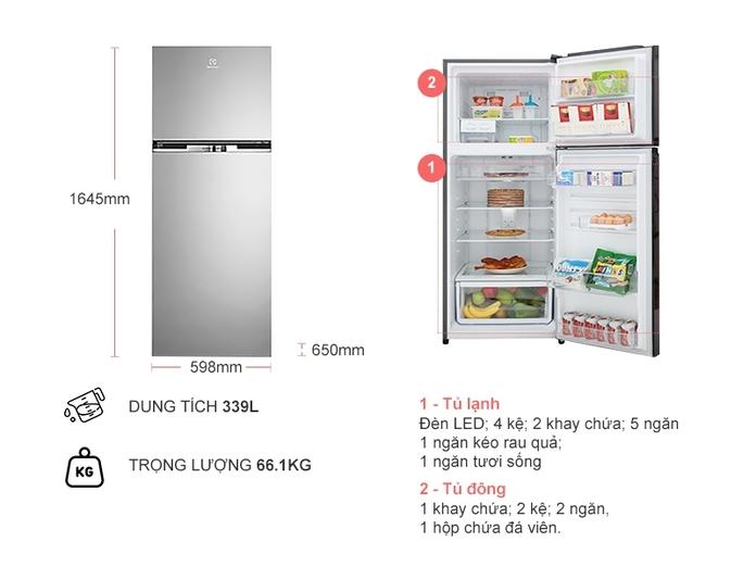Tủ lạnh Electrolux Inverter 318 lít ETB3400H-A