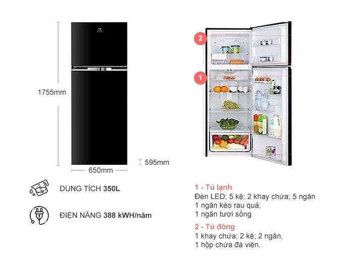 Tủ lạnh Electrolux Inverter 347 lít ETB3700H-H