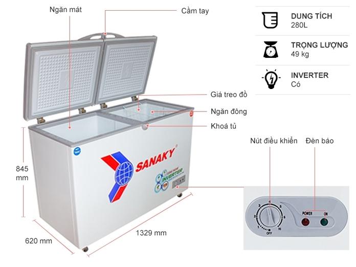 Tủ đông Sanaky Inverter 280 lít VH 4099W3