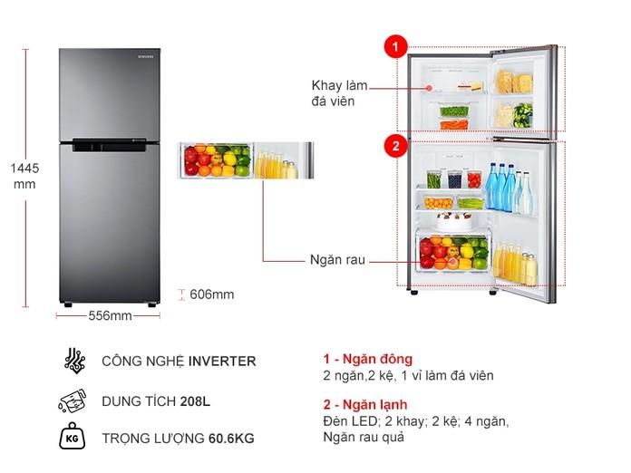 Tủ Lạnh Samsung Inverter 208 lít RT19M300BGS