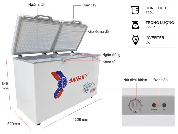 Tủ đông Sanaky Inverter 305 lít VH-4099A4K