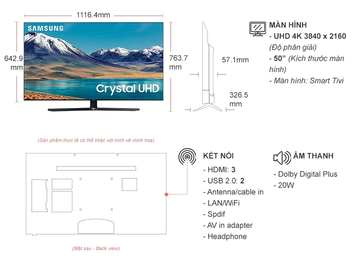 Smart Tivi Samsung 4K 50 inch UA50TU8500KXXV