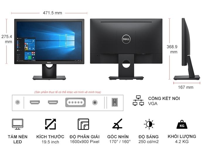 Màn hình máy tính LCD 20inch DELL E2020H Chính Hãng