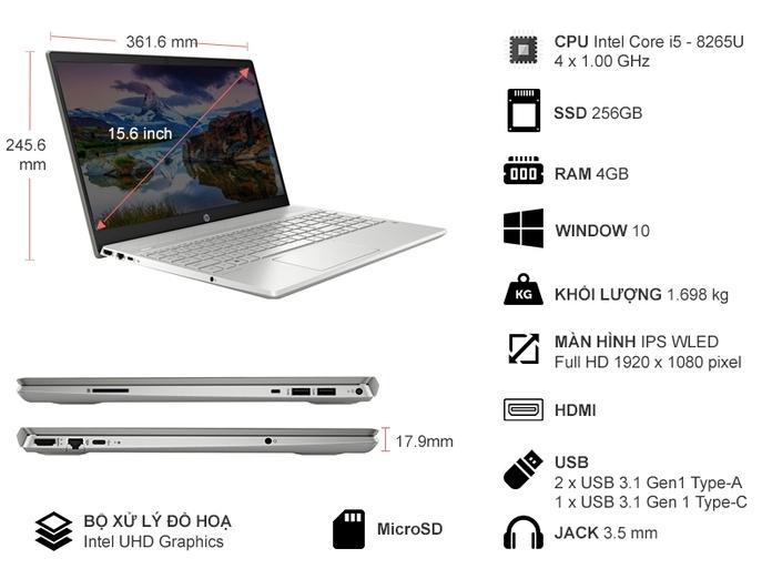 Laptop HP Pavilion 15-CS3015TU (8QP15PA)