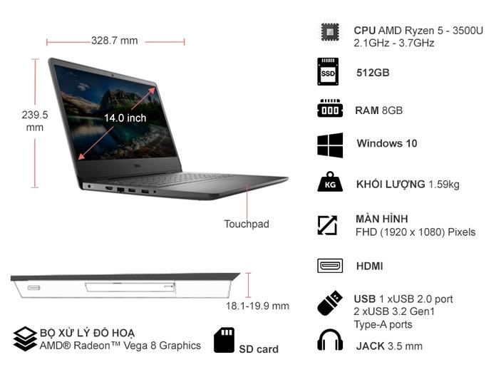 Laptop Dell Vostro 3405 AMD R5-3500U 14 inch V4R53500U003W