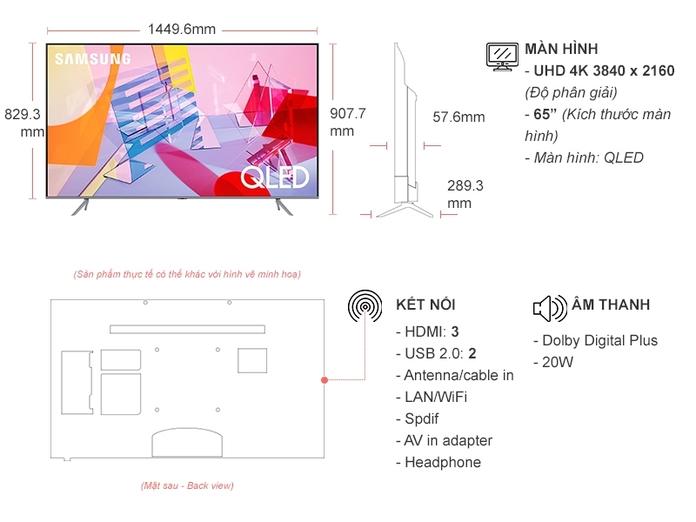 Smart Tivi QLED Samsung 4K 65 inch QA65Q65TAKXXV