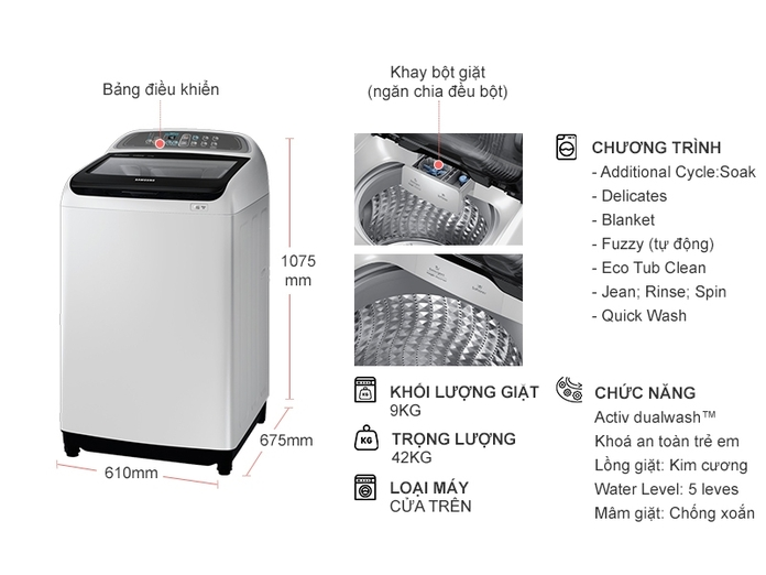Máy giặt Samsung Inverter 9 kg WA90J5710SG