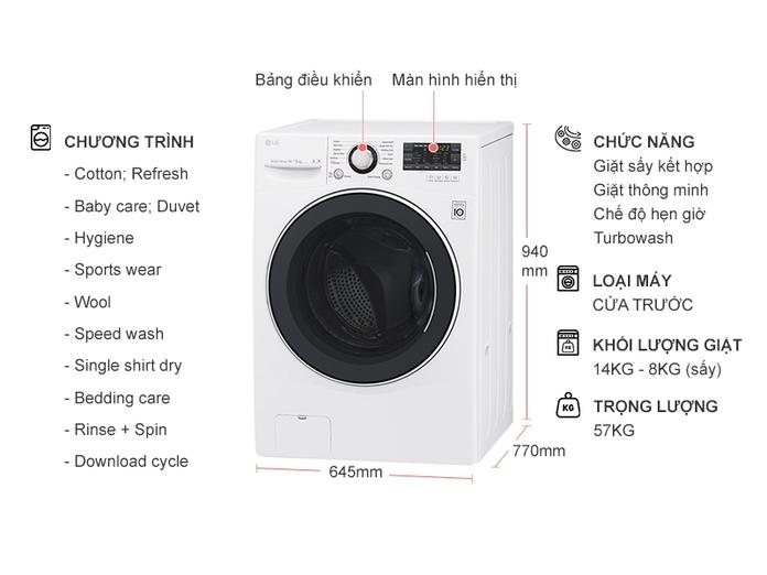 Máy giặt LG 14 kg F2514DTGW