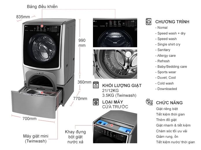 Máy giặt LG Inverter 21 kg F2721HTTV