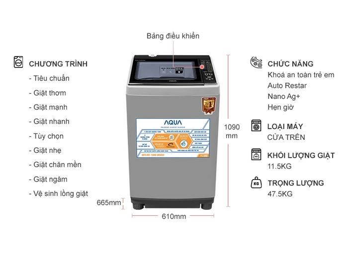 Máy giặt Aqua 11.5 kg AQW-FW115AT (S)