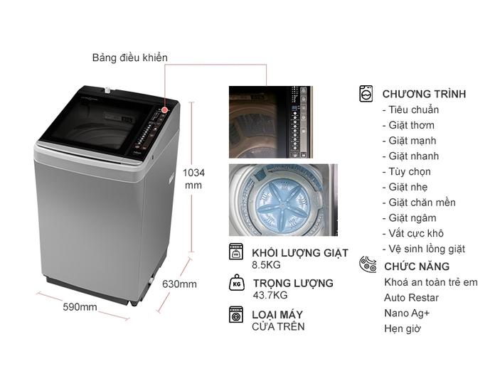 MÁY giặt AQUA AQW-U850BT (S)