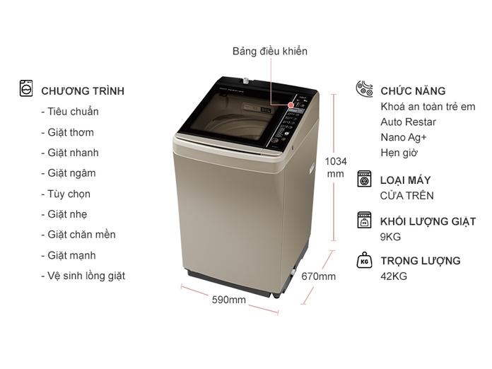 MÁY giặt AQUA AQW-D901BT (N)