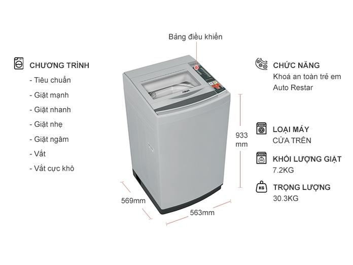 Máy giặt Aqua 7.2 kg AQW-S72CT (H2)