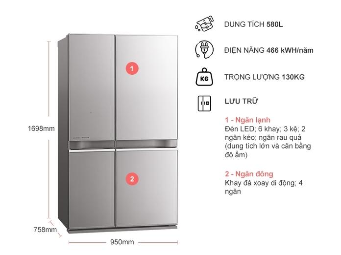 Tủ lạnh Mitsubishi Electric Inverter 580 lít MR-L72EN-GSL-V