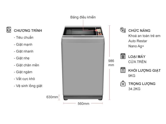 Máy giặt Aqua 9 kg AQW-S90CT (H2)