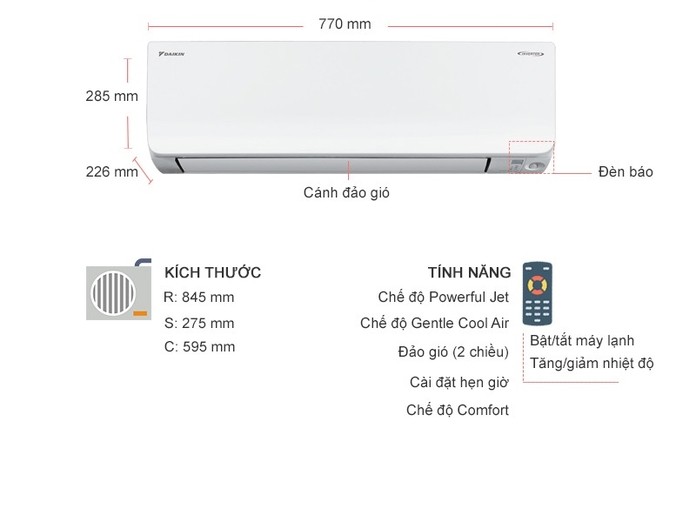 Máy lạnh Daikin Inverter 1 HP FTKM25SVMV