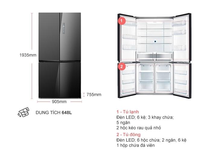 Tủ lạnh Electrolux Inverter 648 lít EQE6909A-BVN