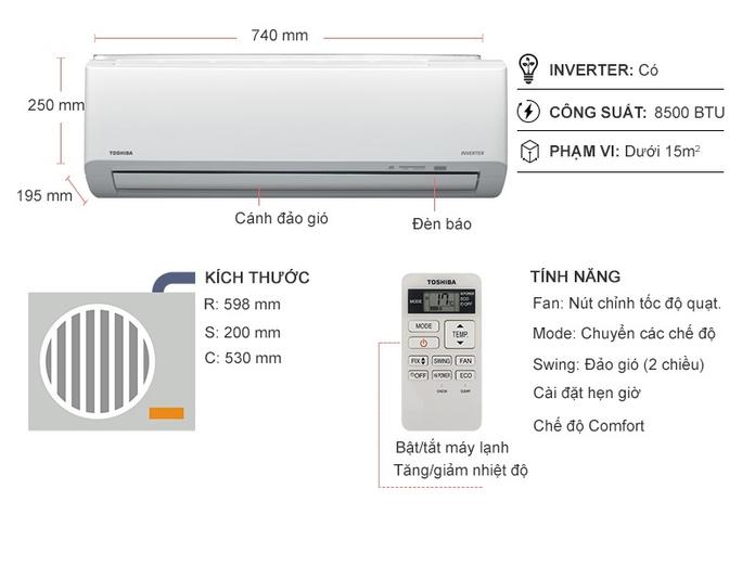 Máy lạnh Toshiba Inverter 1 HP RAS-H10HKCVG-V