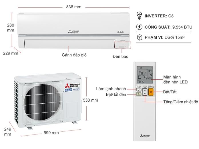 Máy lạnh Mitsubishi Electric Inverter 1 HP MSY/MUY-GR25VF