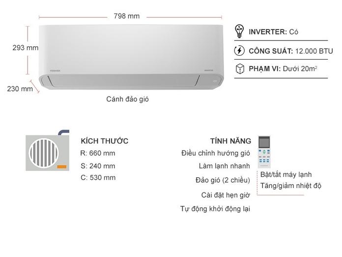 Máy lạnh Toshiba Inverter 1.5 HP RAS-H13H2KCVG-V