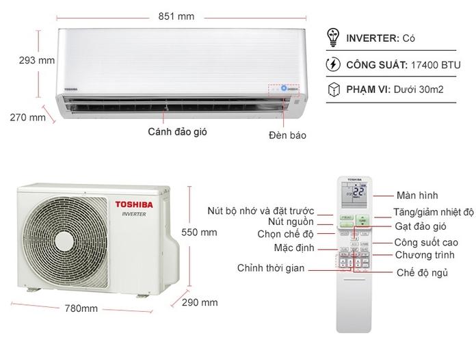 Máy lạnh Toshiba Inverter 2 HP RAS-H18N4KCVPG-V