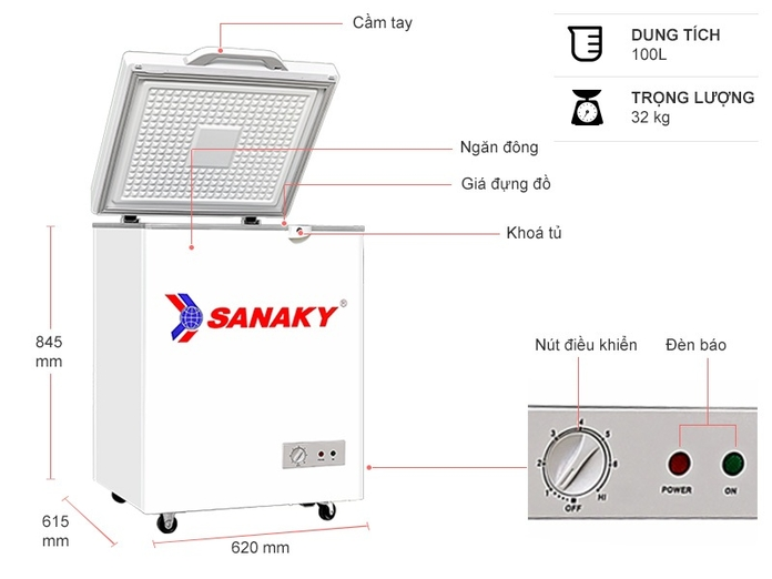 Tủ đông Sanaky 100 lít VH-1599HYKD