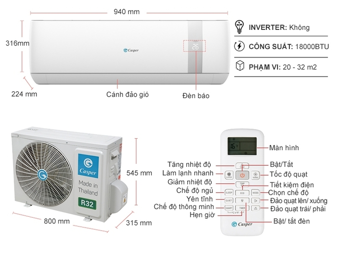 Máy lạnh Casper 2 HP SC-18TL32