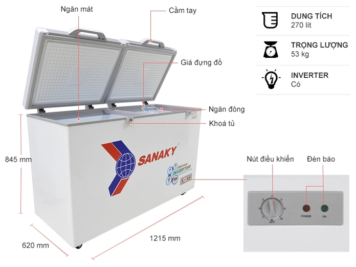 Tủ đông Sanaky Inverter 270 lít VH-3699A4K